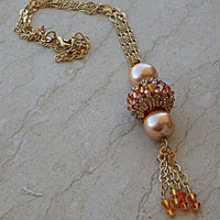 Tassel Necklace . Swarovski Necklace. Fire Orange Peach Beaded Work Jewelry. Ball Necklace Pendant.fringes Hand Made Crafted Gold Necklace.