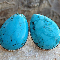 Teardrop Turquoise Stud Earrings. Natural Turquoise Jewelry. Peirced Stud Or Clip On . December Birthstone Jewelry. Post Turquoise Earrings