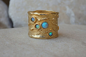 Texture Large Rings. Opal 4 Birthstone Ring