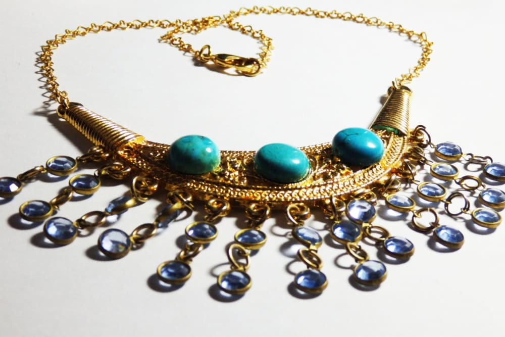 Tribal Turquoise Necklace. Bib Statement Necklace. Gold Turquoise Jewelry. Swarovski & Turquoise Necklace. Boho Turquoise And Gold Necklace