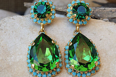 Turquoise And Emerald Drop Shaped Earrings