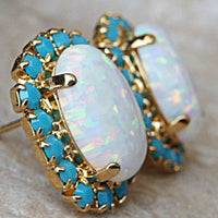 Turquoise And Opal Gold Earrings