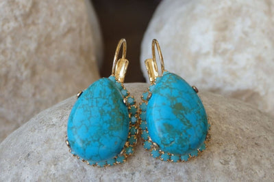 Turquoise Droplets Earrings. Birthstone December Jewelry. Turquoise Earrings Gold. Bridal Teardrop Earrings. Romantic Jewelry Gifts For Her.