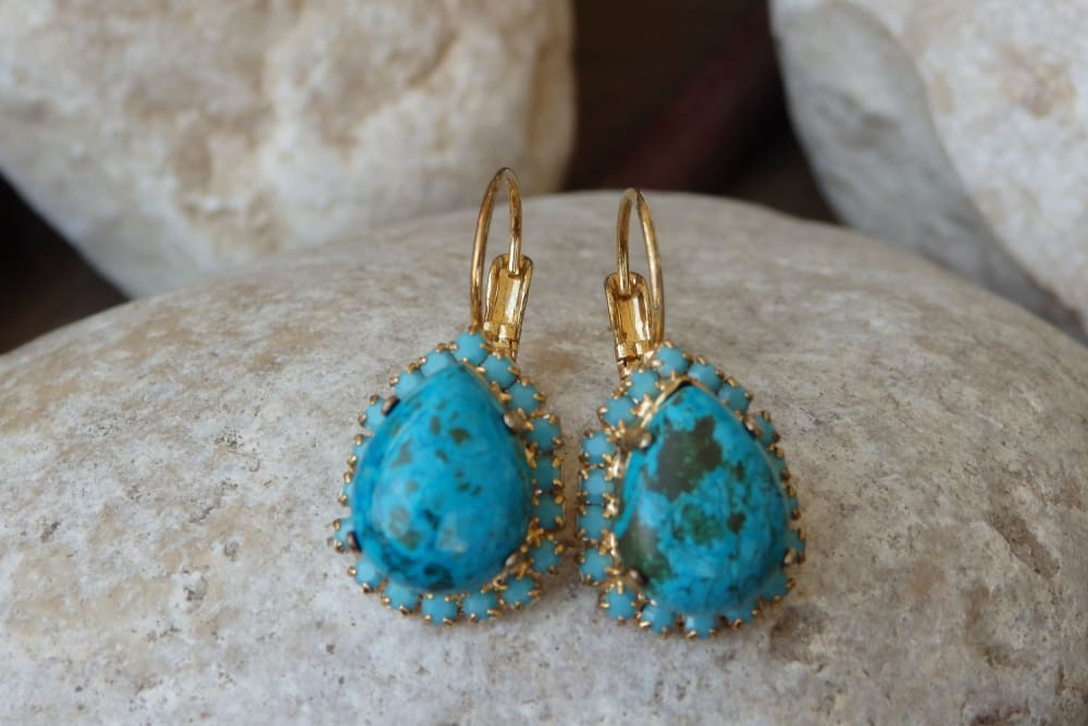 Turquoise Earrings. Swarovski Jewelry. Turquoise Earrings Gold. Bridal Blue Earrings. Genuine Turquoise Earrings. Real Gemstone Turquoise