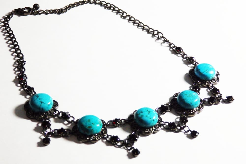 Turquoise Necklace. Gemstone Turquoise Jewelry. Black Turquoise Vintage Style Necklace. Real Turquoise Jewelry Gift For Women. Gift For Her.