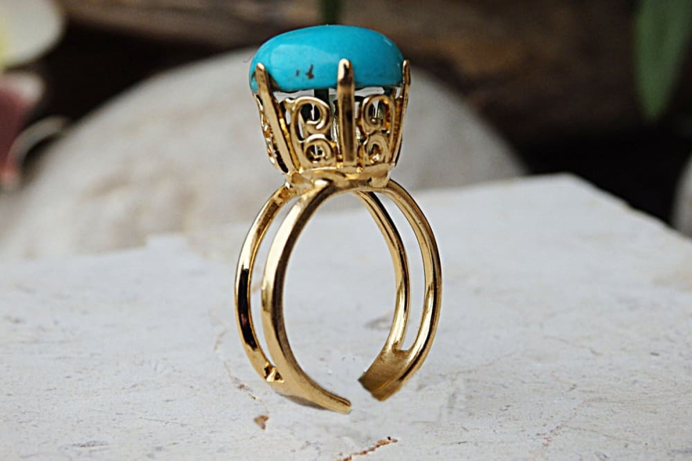 Turquoise Ring. Gold Plated Ring With Gemstone. Genuine Turquoise Jewelry.blue Ring. Everyday Jewelry. Adjustable Ring. December Birthstone