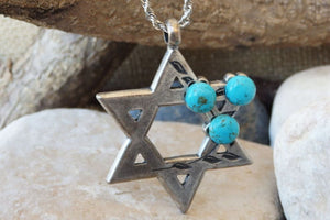 Turquoise Silver Star Of David Necklace Pendant. Jewish Star Necklace. Silver Magen David Jewish Necklace. Shield Of David Charms Jewelry