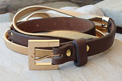 Two Tone Belt. Evening Gold Belt. Gold Metal Belt. Adjustable Brown Belt. Women Leather Belt For Women Thin Belt. Golden Metal Buckle Belt