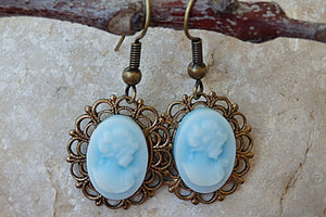 Victorian Cameo Earrings. Antique Style Cameo Earrings. Vintage Style Earrings. Blue Cameo Earrings. Cameo Jewelry. Women Shaped Earrings