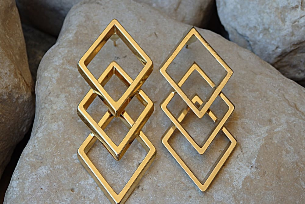 Wedding Gold Earrings. Geometric Long Stud Earrings. Bridal Earrings. Triple Earrings. Square Earrings.bridesmaid Statement Wedding Earrings