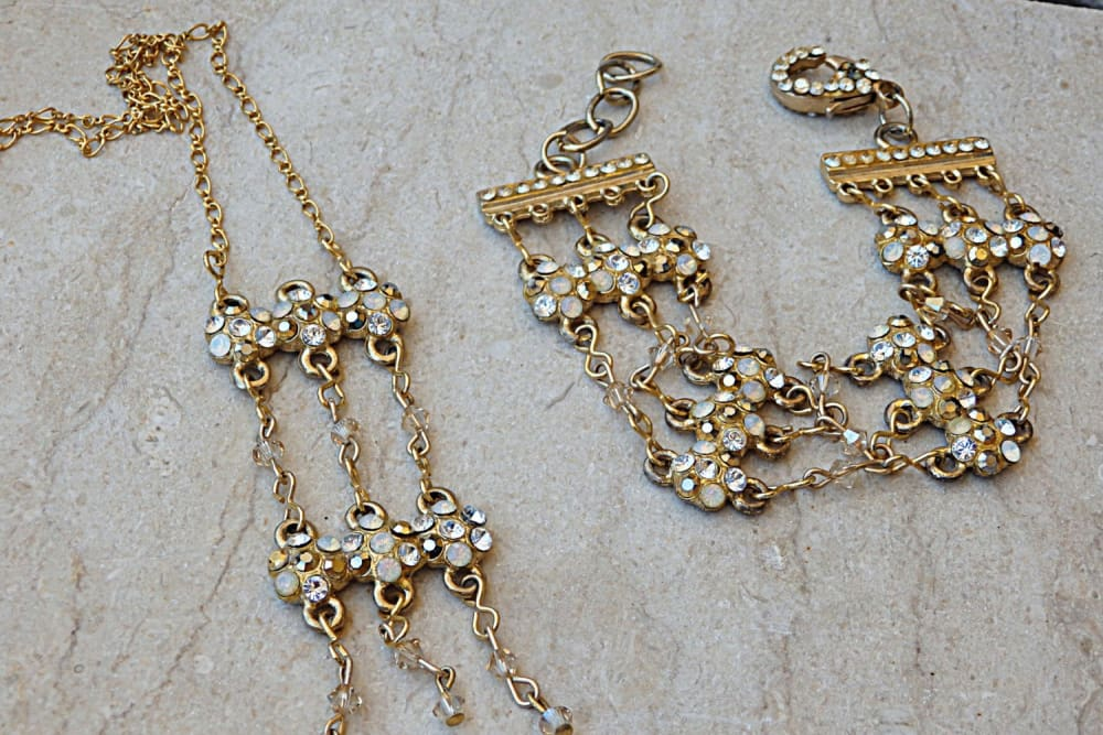 Wedding Jewelry Sets For Brides. Bridal Floral Jewelry Set. Gold Filled Jewelry Set. Clear Jewelry Set. Jewelry Set For Brides & Bridesmaids