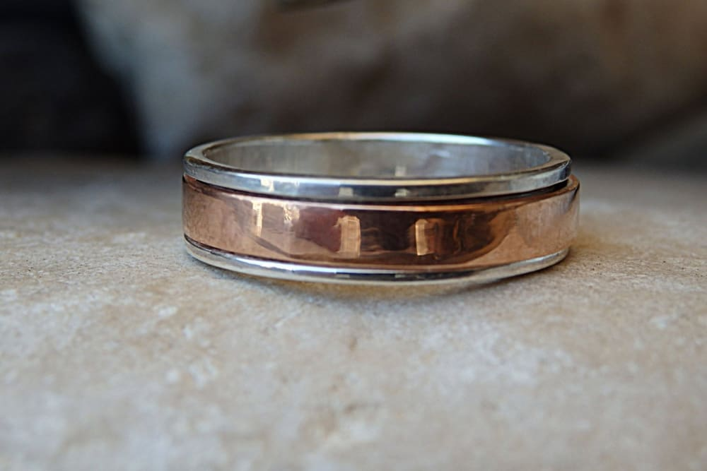 Wedding Spinner Ring. 925 Sterling Silver And Copper Band Spinner Ring. Fidget Ring. Wedding Silver Ring. Silver Mens Womens Band Ring