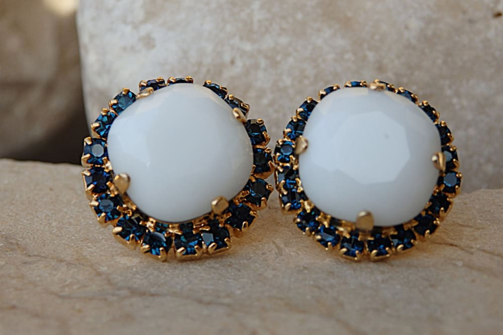 White And Deep Blue Stud Earrings