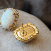 White Opal Gold Earrings
