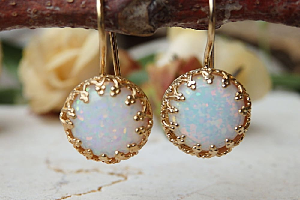 White Opal Gold Earrings For Bride Earrings