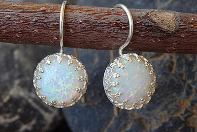 White Opal Silver Earrings For Bride Earrings