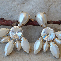 White Pearl Stud Cluster Earrings
