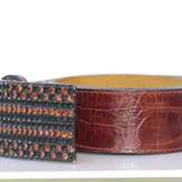 Womens Belt. Leather Belt. Chunky Leather Belt. Brown Leather Belt. Belt For Woman With Crystals Studs. Art Deco Western Belt. Bling Belt