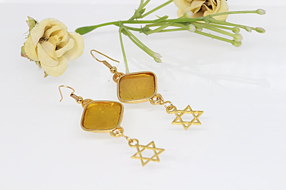 Yellow Enamel Earring