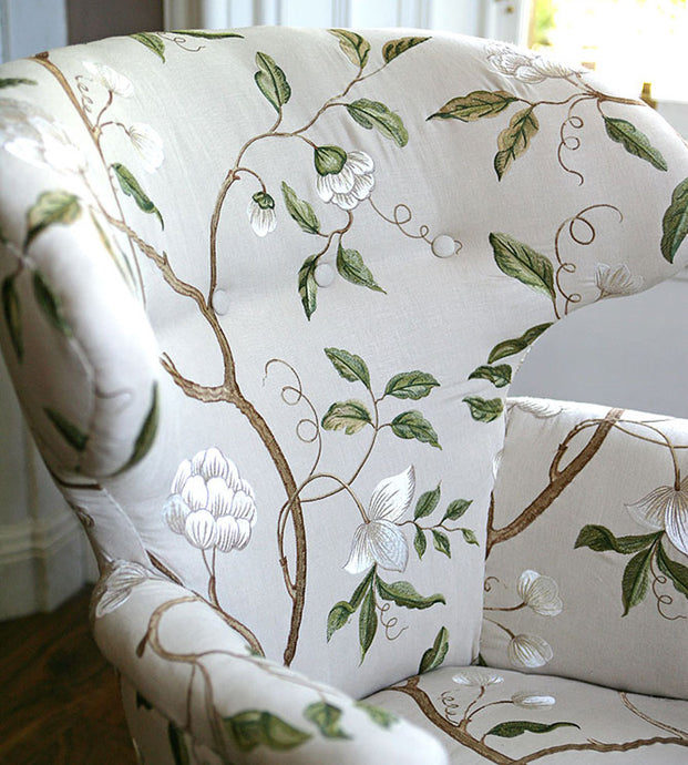 Regency Feature Armchair in Embroidered Linen