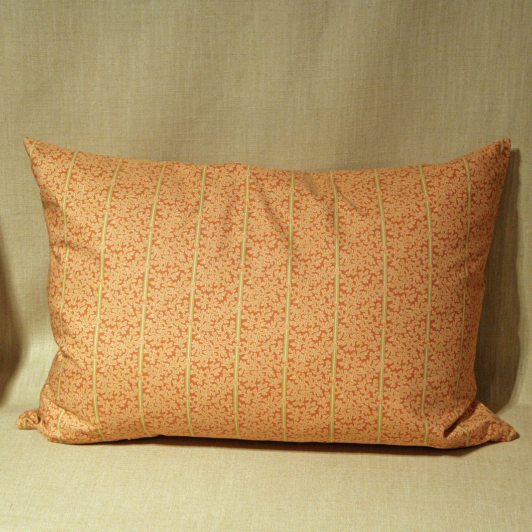 Woven cotton coral stripe - The Glasgow Guild