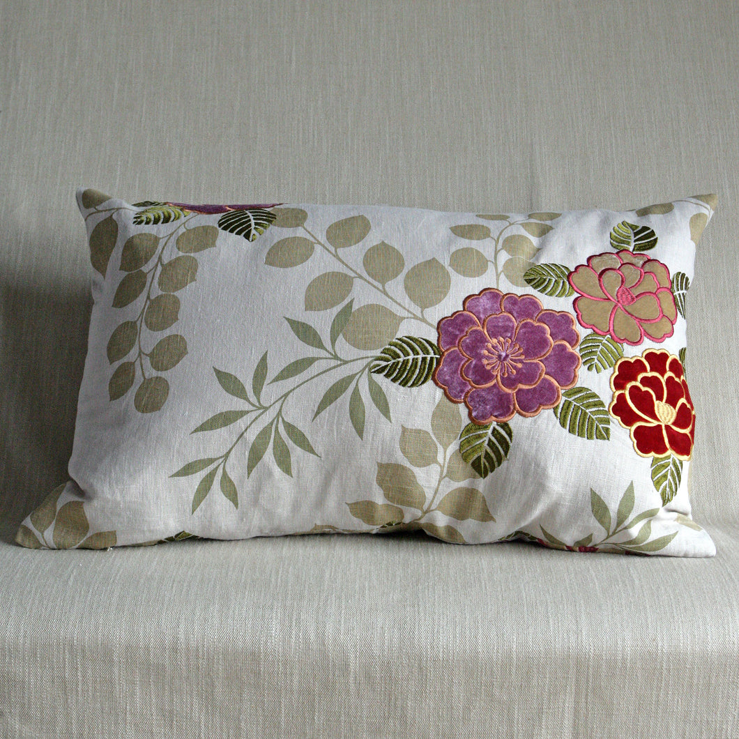Printed linen with applique flowers