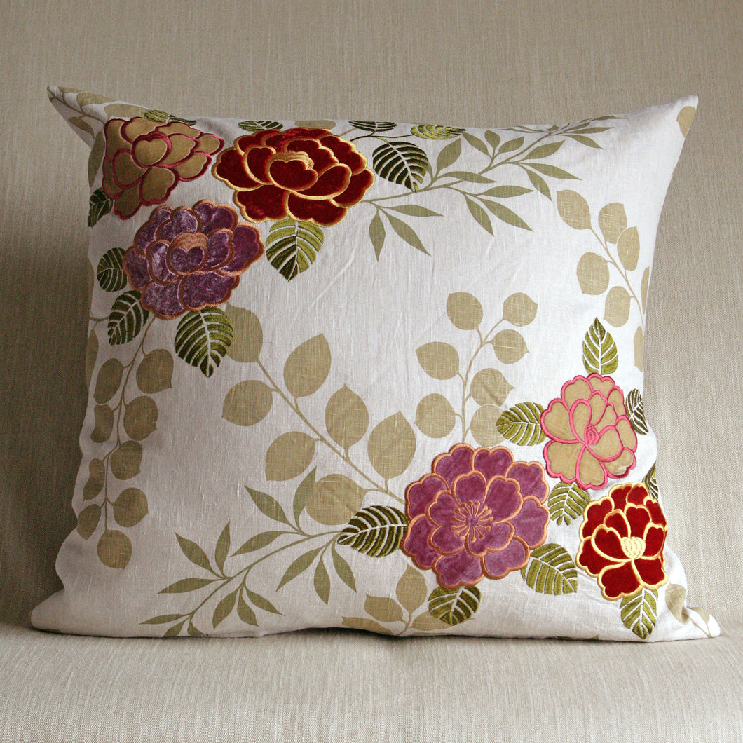 Printed linen with applique flowers - The Glasgow Guild