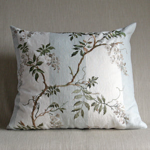Embroidered wisteria on striped linen