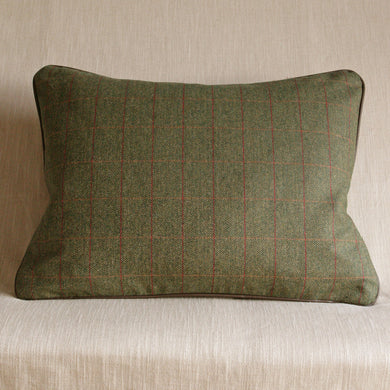 Saville Row green tweed with leather piping