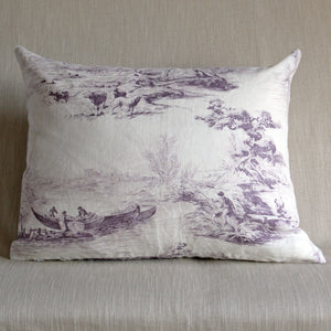 Boatmen toile print on linen