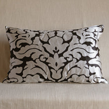Load image into Gallery viewer, Black and silver modern silk damask