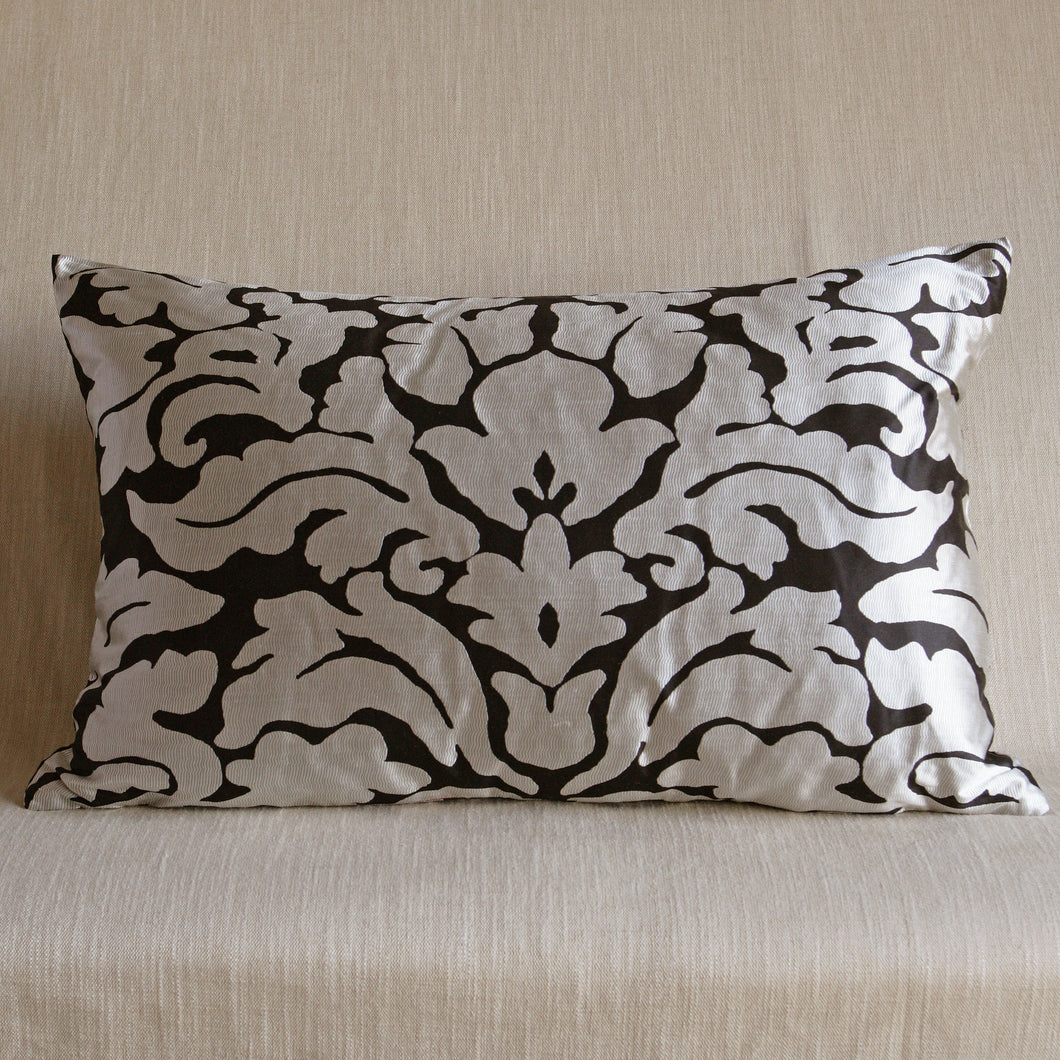 Black and silver modern silk damask