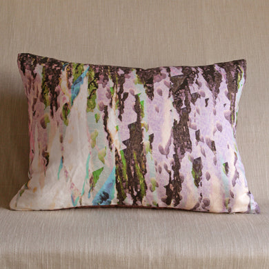 Printed linen cushion by Glasgow Artist Squish Kibosh backed in silk