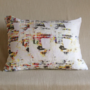Printed silk cushion by Glasgow Artist Squish Kibosh