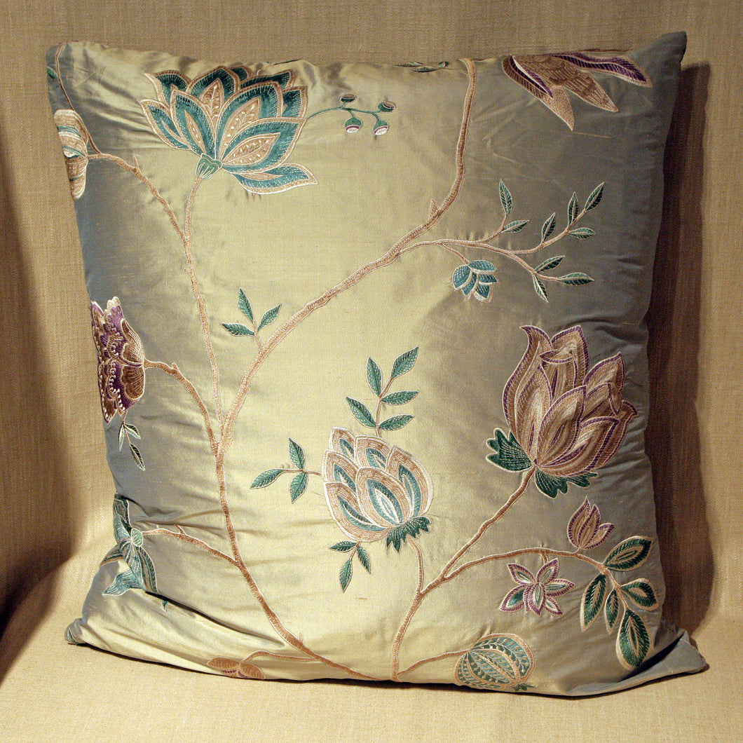 Embroidered silk floral botanical