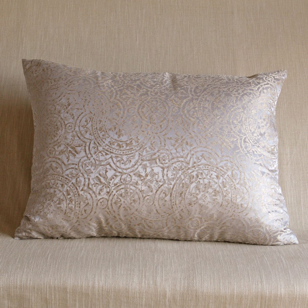 Ivory silver and gold patterned silk