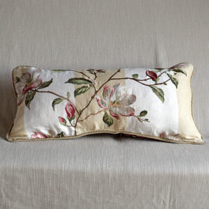 Embroidered magnolias on striped linen