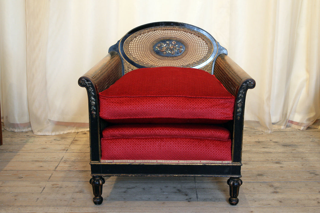 1920s Louis XVI Style Ebonised Bergere Armchair with Oval Back & Flower Details - The Glasgow Guild