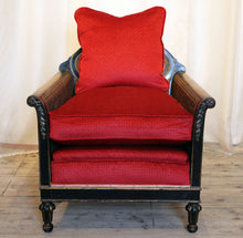 Load image into Gallery viewer, 1920s Louis XVI Style Ebonised Bergere Armchair with Oval Back & Flower Details - The Glasgow Guild