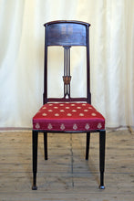 Load image into Gallery viewer, Glasgow School Art Nouveau Inlaid Side Chair Upholstered In Napoleonic Bee Fabric