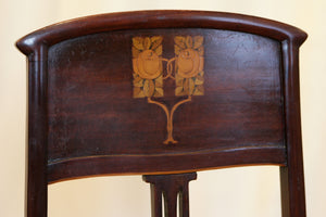 Glasgow School Art Nouveau Inlaid Side Chair Upholstered In Napoleonic Bee Fabric