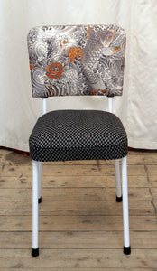A 1950's Dining Chair Restored & Re-covered in Jean-Paul Gaultier Fabric - The Glasgow Guild