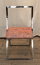 "Load image into Gallery viewer, A Marcello Cuneo ""Luisa"" Folding Chrome Chair In Chanel Inspired Fabric - The Glasgow Guild"