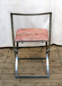 "A Marcello Cuneo ""Luisa"" Folding Chrome Chair In Chanel Inspired Fabric - The Glasgow Guild"