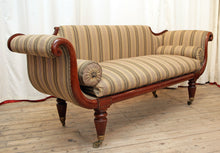 Load image into Gallery viewer, A William IV Scroll-Arm Sofa Restored & Re-Covered in Ticking by Kravet, New York - The Glasgow Guild