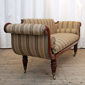 A William IV Scroll-Arm Sofa Restored & Re-Covered in Ticking by Kravet, New York - The Glasgow Guild