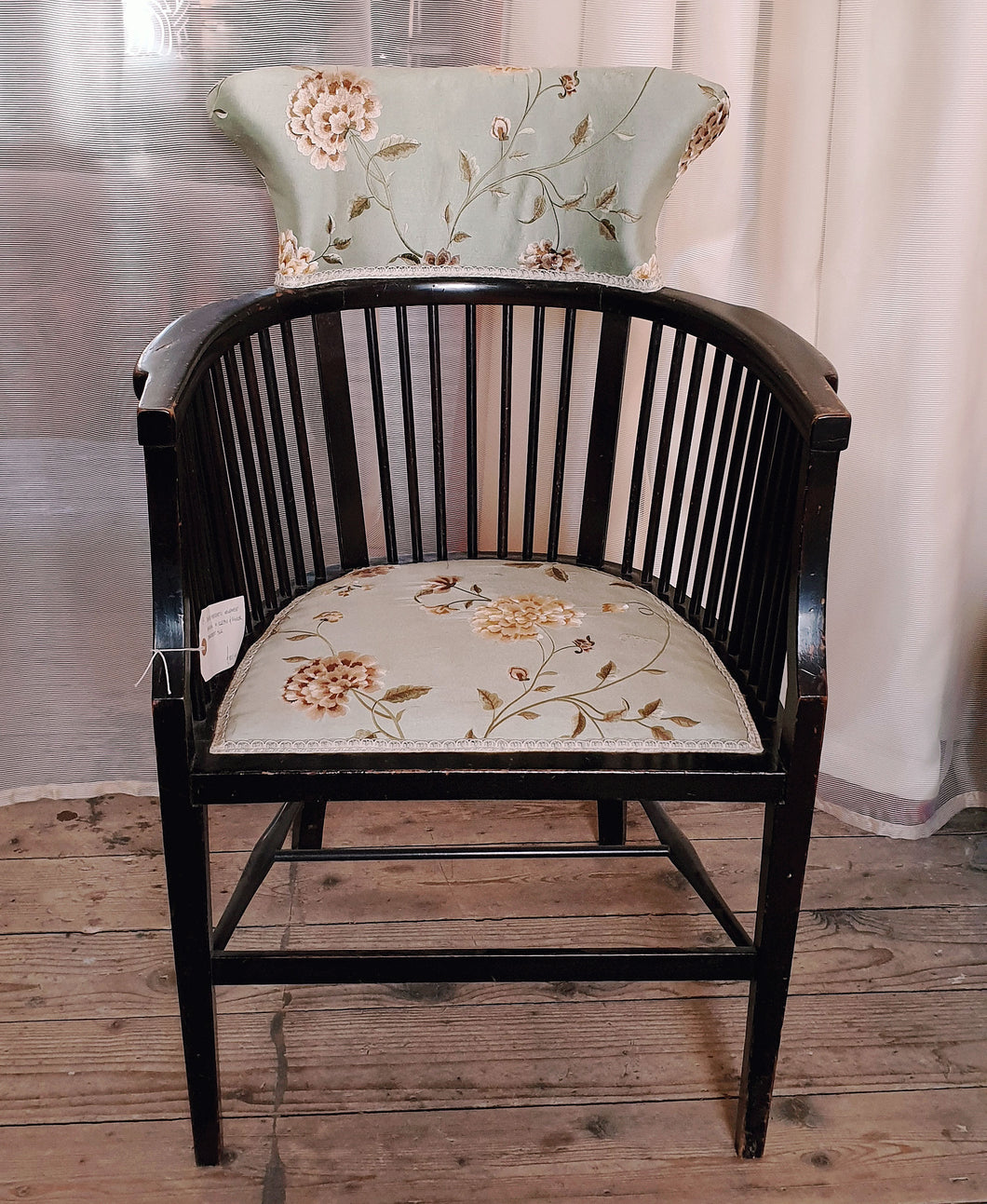 An ebonised aesthetic movement armchair in embroidered silk - The Glasgow Guild