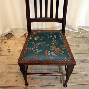 A High backed arts & crafts side chair in embroidered silk - The Glasgow Guild