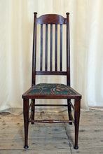 Load image into Gallery viewer, A High backed arts & crafts side chair in embroidered silk