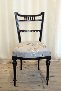 An ebonised aesthetic movement side chair in grey-mauve embroidered silk
